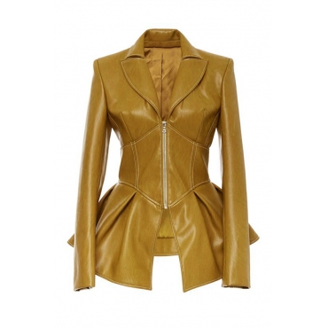 Lovely Casual Flounce Yellow  Coat