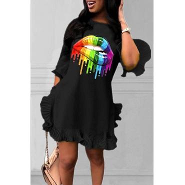 Lovely Sweet O Neck Lip Printed Black Mini Dress