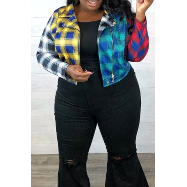 Lovely Leisure Plaid Printed Multicolor Plus Size Coat