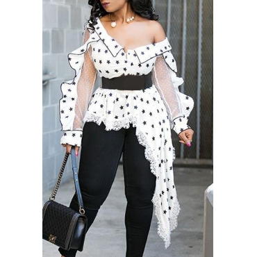 Lovely Casual V Neck Dot Printed White Plus Size Blouse