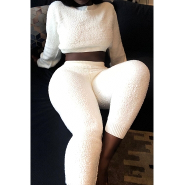 Lovely Trendy Basic White Two-piece Pants Set