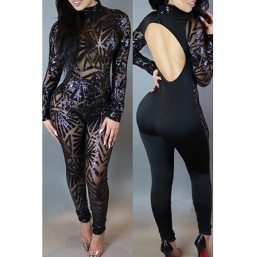 Lovely Sexy Backless Black One-piece Jumpsuit