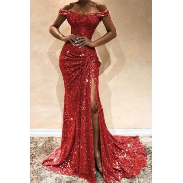Lovely Party Side High Slit Red Trailing Evening Dress