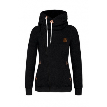 Lovely Leisure Hooded Collar Zipper Design  Black Hoodie
