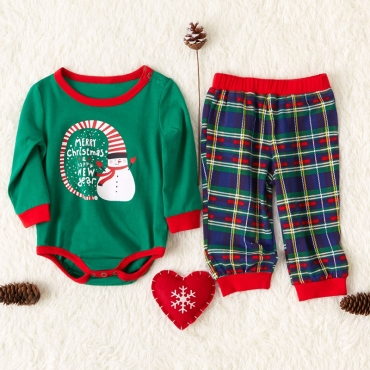 Lovely Family Printed Green Baby Two-piece Pants Set