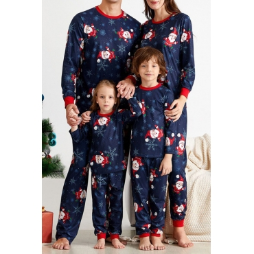 Lovely Family Printed Blue Father Two-piece Pants Set