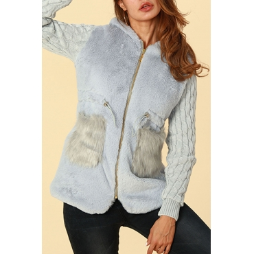 Lovely Trendy Patchwork Grey Cotton Coat