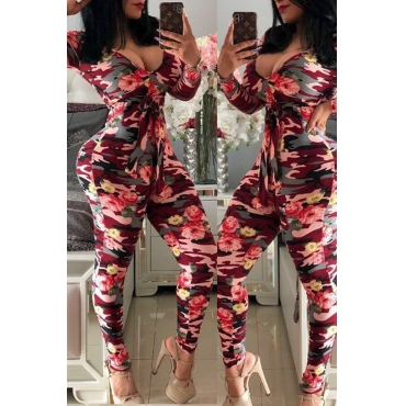 Lovely Trendy Camouflage Printed Red One-piece Jumpsuit