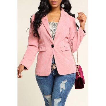 Lovely Leisure Basic Light Pink Blazer