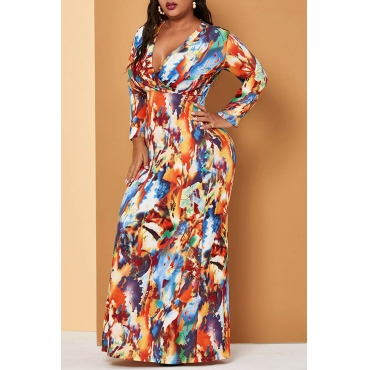 Lovely Casual V Neck Printed Multicolor Ankle Length Plus Size Dress