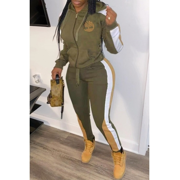 Lovely Sportswear Hooded Collar Patchwork Army Green Two-piece Pants Set