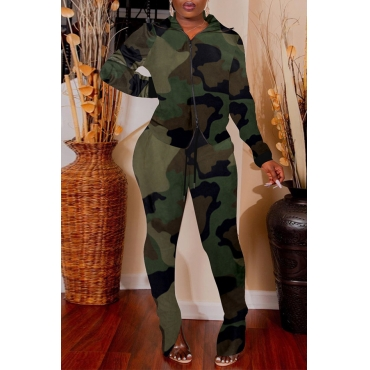 Lovely Casual Turndown Collar Camouflage Printed Army Green Two-piece Pants Set