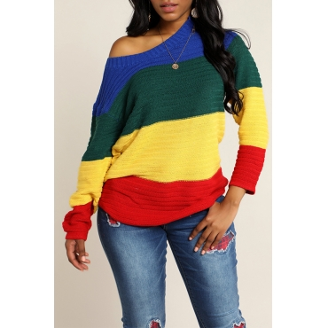 Lovely Casual O Neck Patchwork Multicolor Sweater(With Elastic)