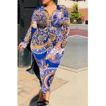 Lovely Casual Printed Blue Plus Size One-piece Jumpsuit