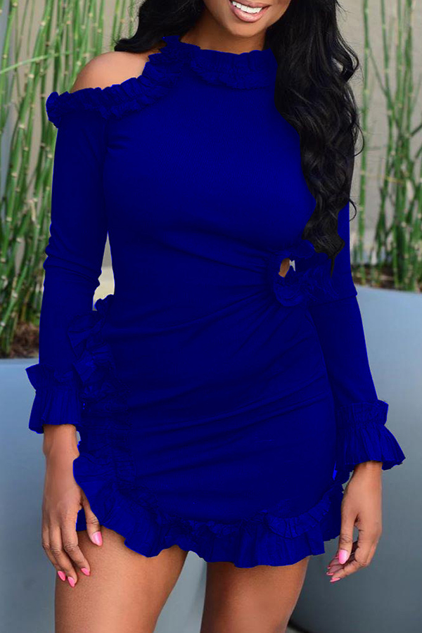 Lovely Sweet Flounce Patchwork Blue Mini Dress