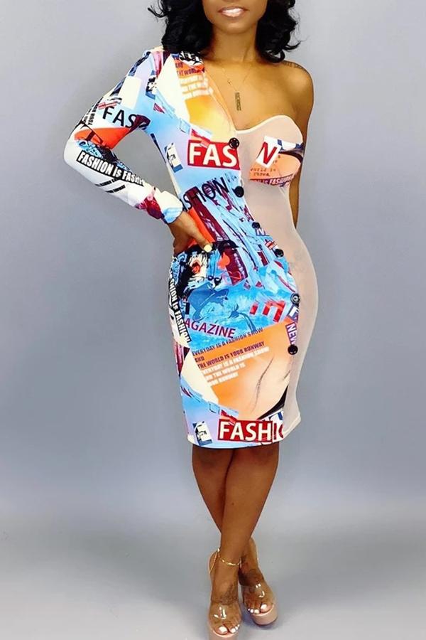 Lovely Casual One Shoulder Asymmetrical Multicolor Knee Length Dress