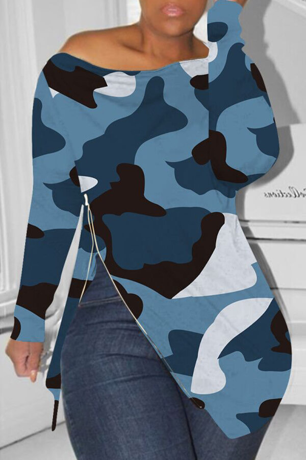 Lovely Casual Printed Blue T-shirt