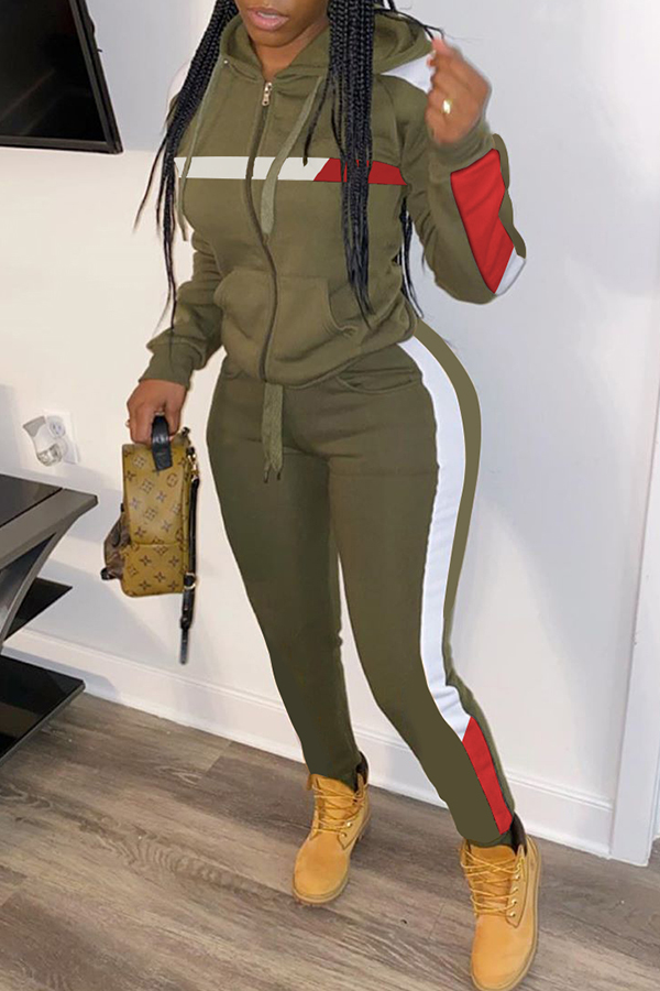 Lovely Trendy Hooded Collar Patchwork Army Green Two-piece Pants Set
