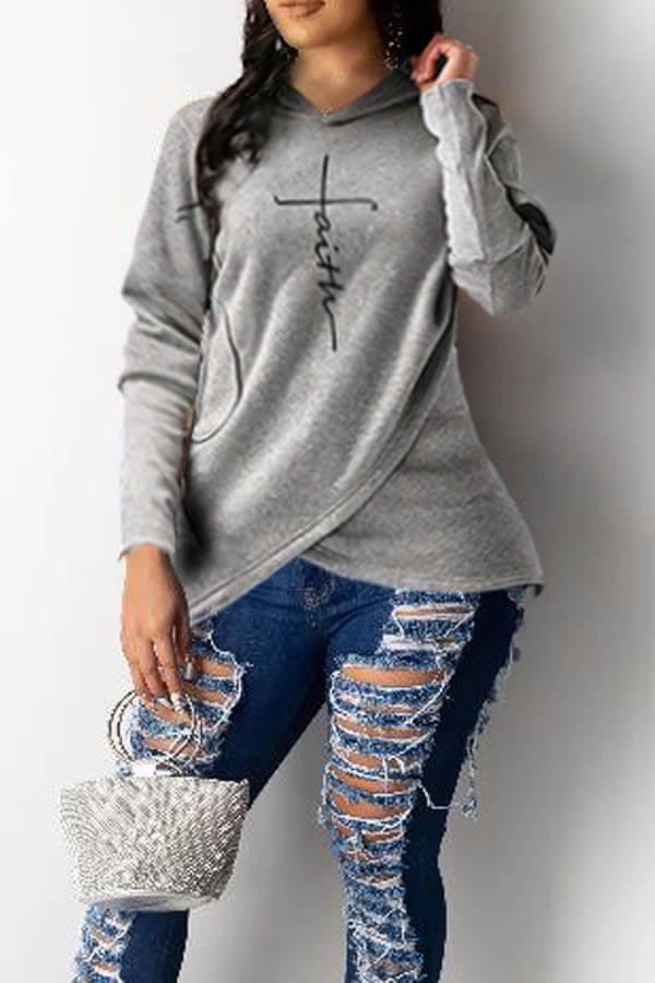 Lovely Trendy Hoodie Hooded-Collar Letter Print Asymmetrical Grey Regular Fit