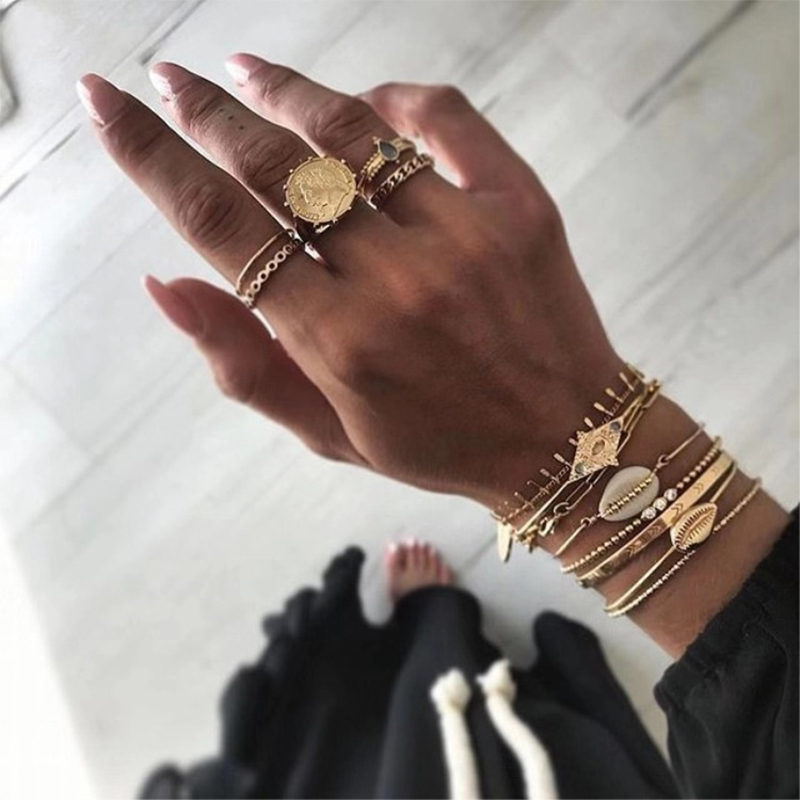 Lovely Trendy 5-piece Gold Metal Ring