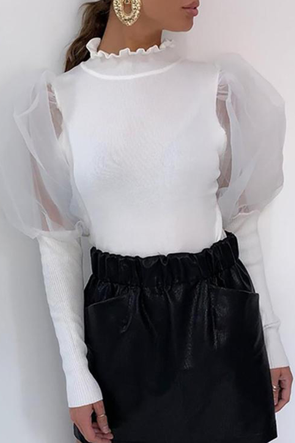 Lovely Trendy Patchwork White Blouse