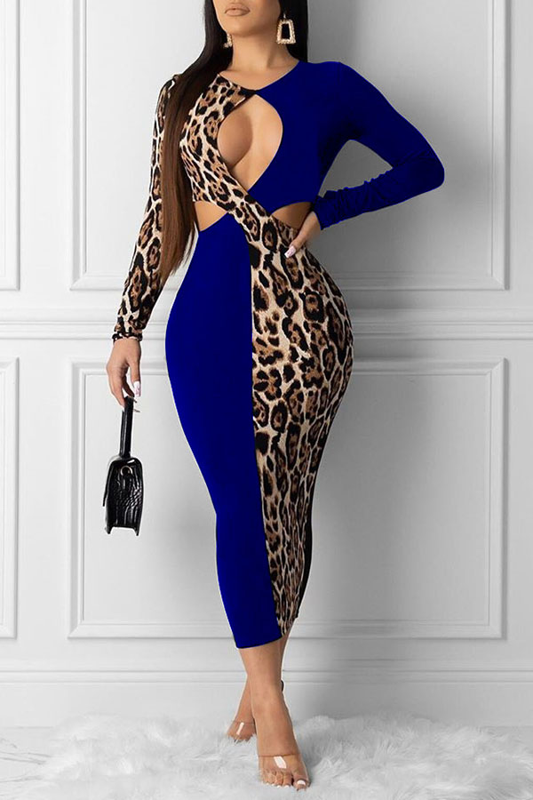 Lovely Sexy Hollow-out Blue Ankle Length Dress