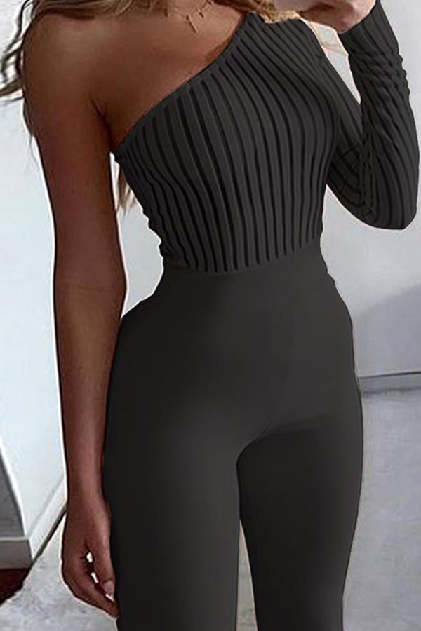 Lovely Casual Ruffle Design Black One-piece Jumpsuit