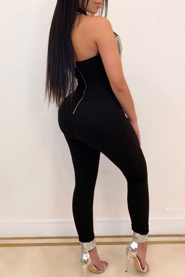 Lovely Sexy Tassel Design Black One-piece Jumpsuit