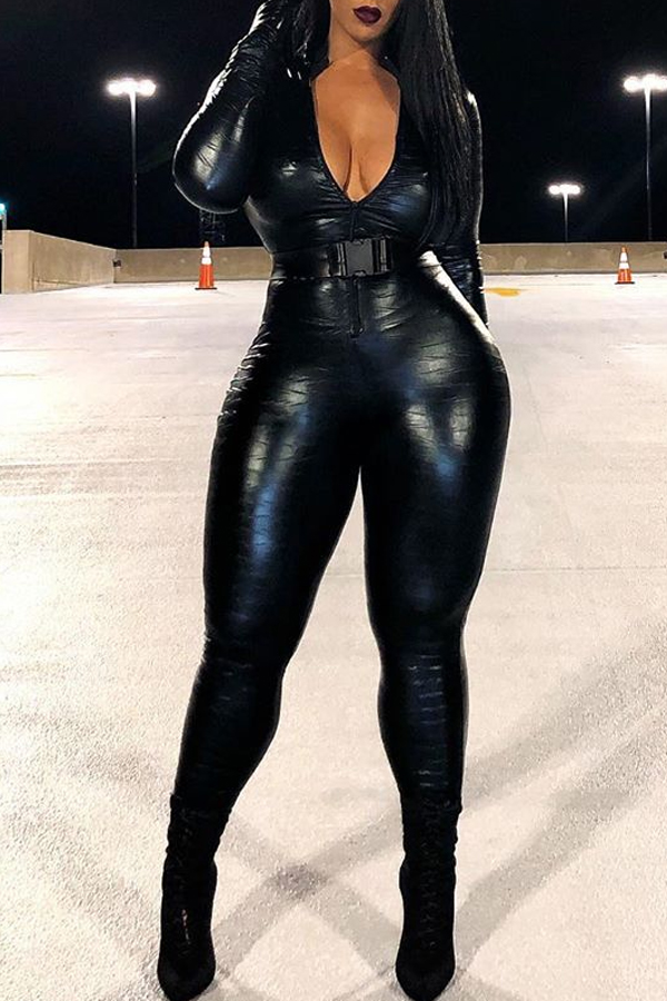 Lovely Trendy Skinny Black One-piece Jumpsuit(Without Belt)
