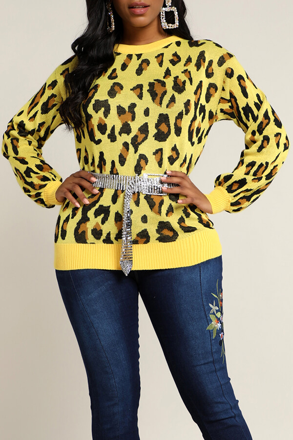 Lovely Casual Leopard Yellow Sweater(Without Belt)