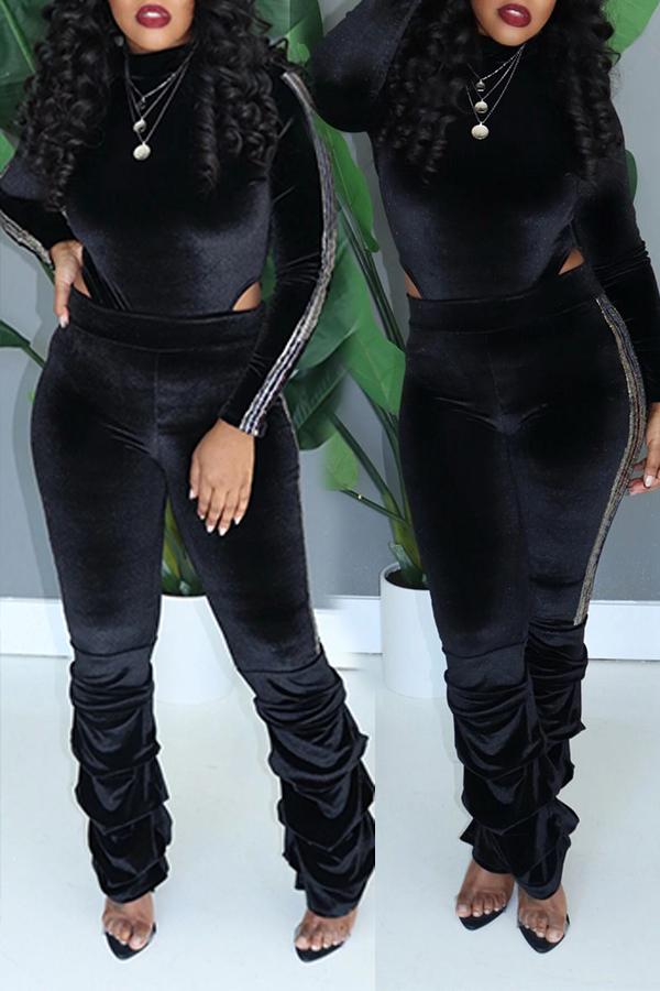 Lovely Trendy Ruffle Design Black Two-piece Pants Set
