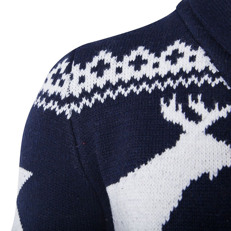 Lovely Christmas Day Buttons Design Navy Blue Cardigan