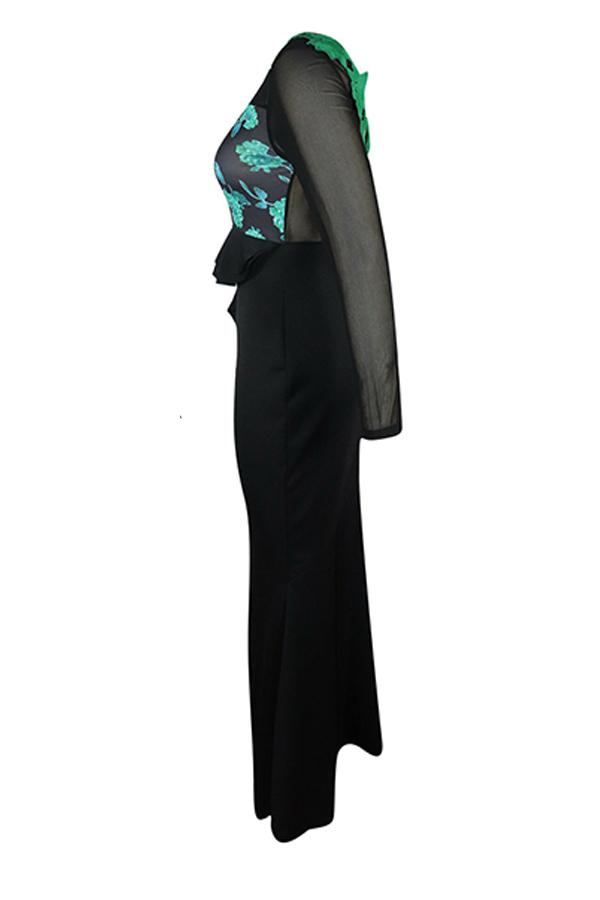 Lovely Party Patchwork Flounce Black Floor Length Prom Dress