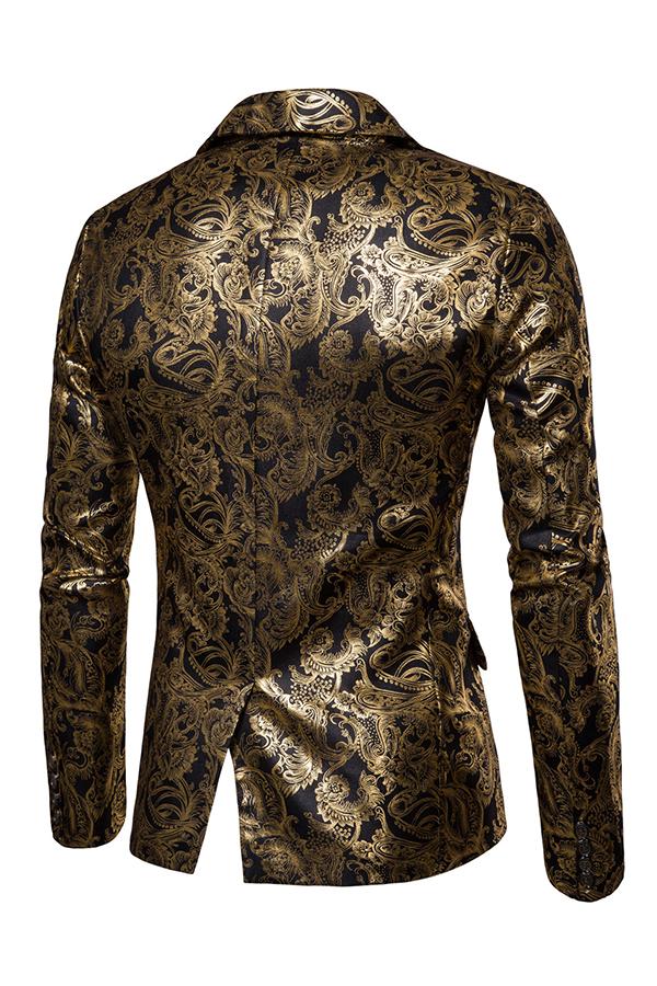 Lovely Chic Turndown Collar Printed Black Formal Wear