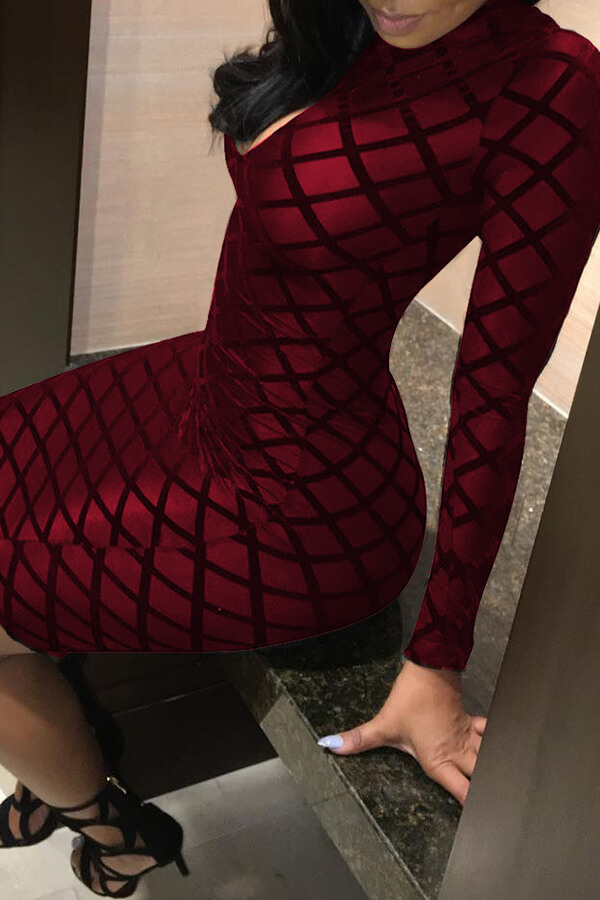 Lovely Chic Printed Skinny Wine Red Mini Dress