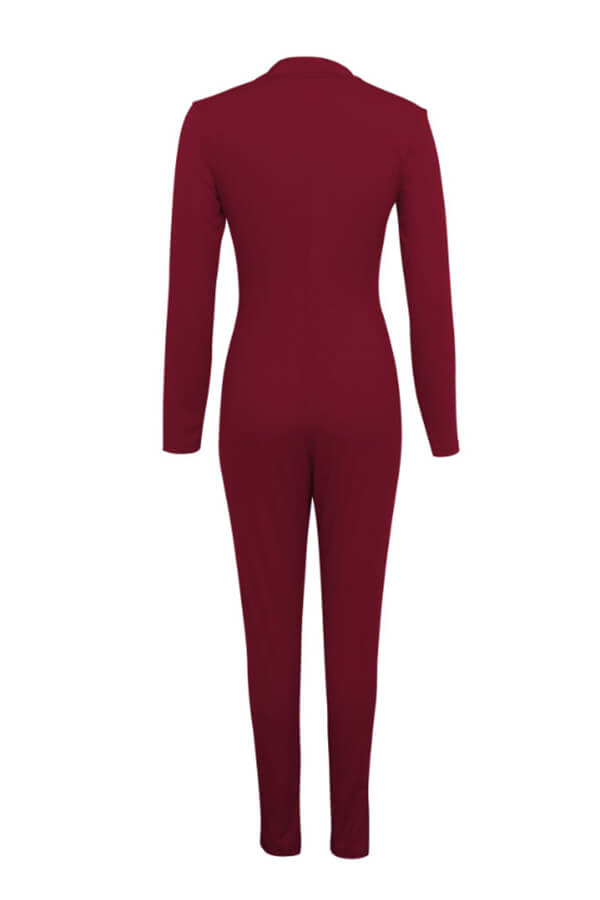 Lovely Casual Zipper Design Wine Red One-piece Jumpsuit