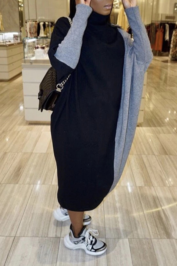 Lovely Leisure Color-lump Patchwork Grey Mid Calf Dress