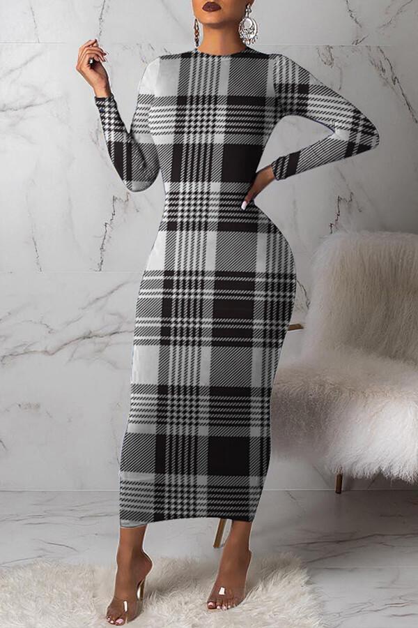 lovelywholesale / Lovely Trendy Grid Printed Black Ankle Length Dress