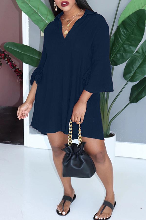 Lovely Casual V Neck Loose Blue Mini Dress