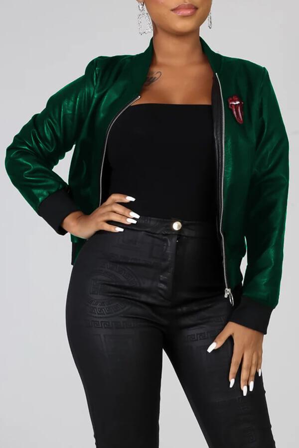 Lovely Casual Zipper Design Blackish Green Coat