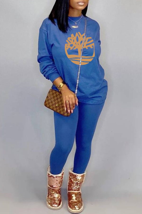 Lovely Casual O Neck Printed Blue Two-piece Pants Set