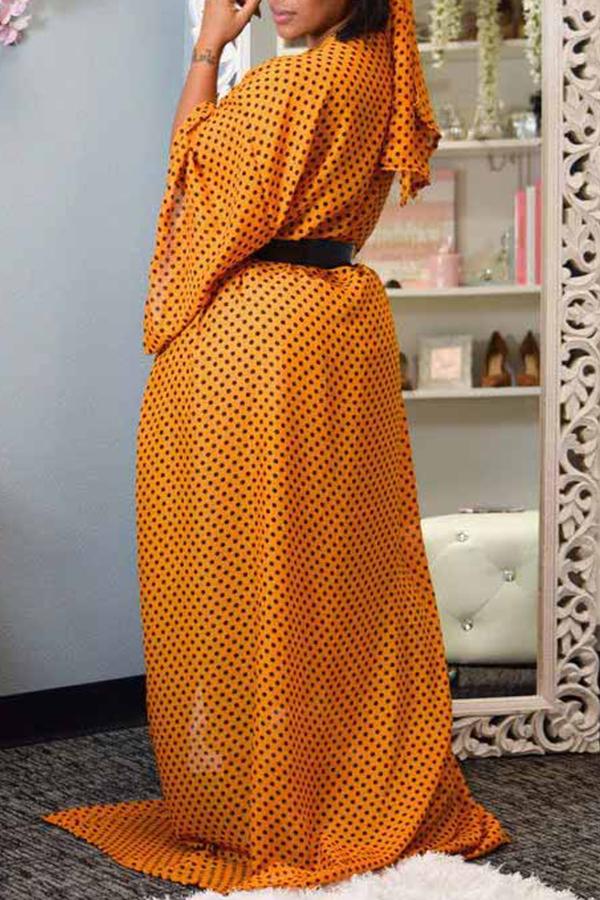 Lovely Trendy Dot Printed Yellow Coat