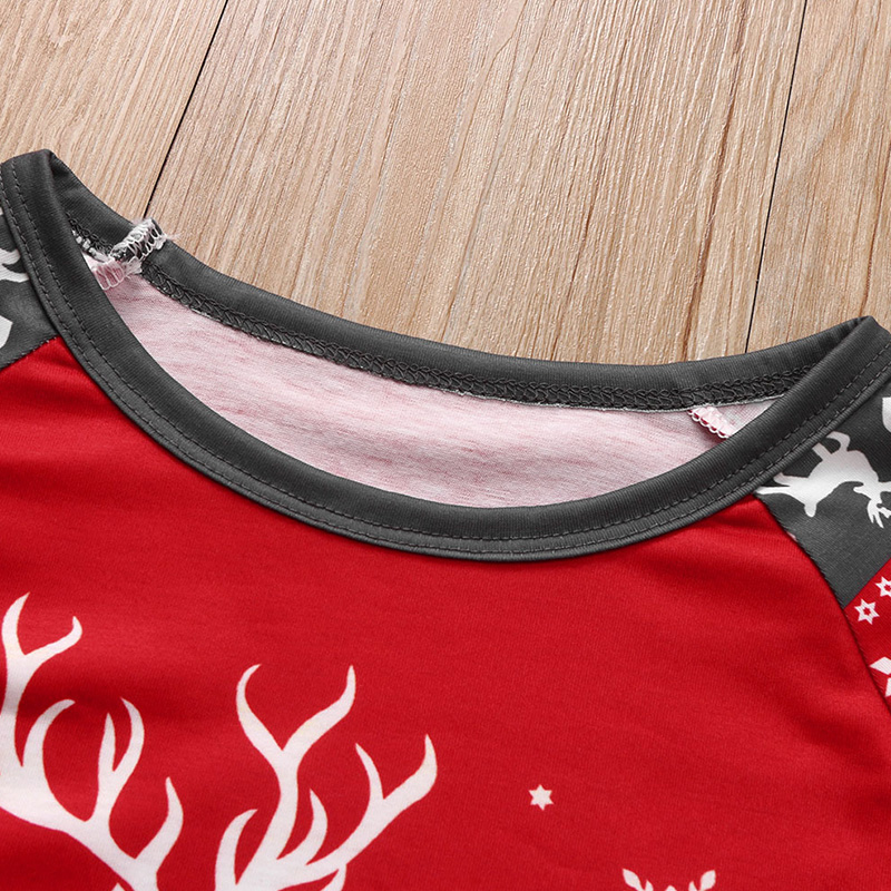 Lovely Family Christmas Deer Red Mother Two-piece Pants Set