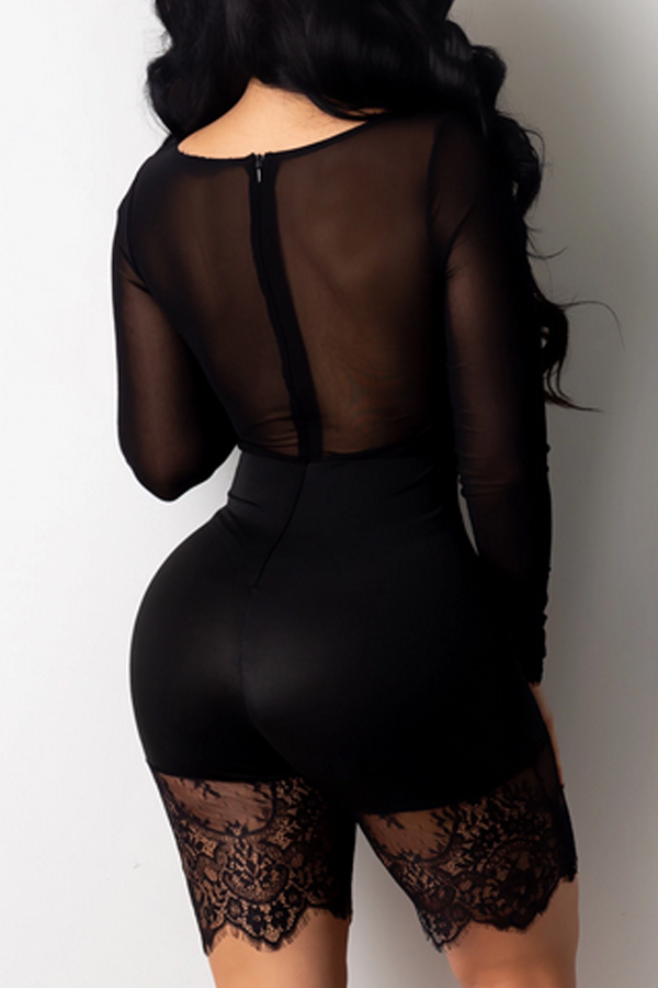 Lovely Sexy See-through Patchwork Black One-piece Romper(Without Belt)