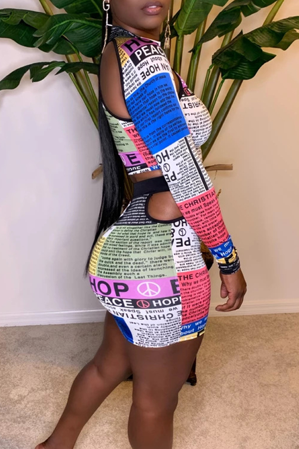 Lovely Casual Hollow-out Multicolor Two-piece Skirt Set