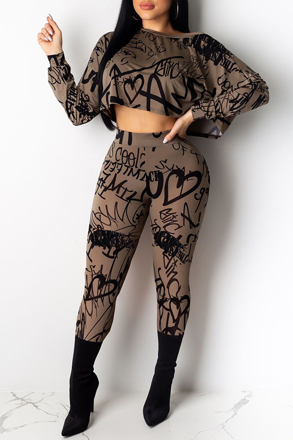 Lovely Casual Letter Prnted Khaki Two-piece Pants Set