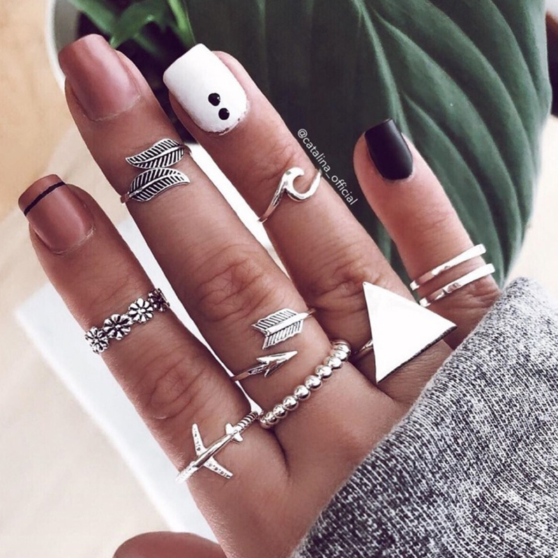Lovely Trendy 9-piece Silver Metal Ring