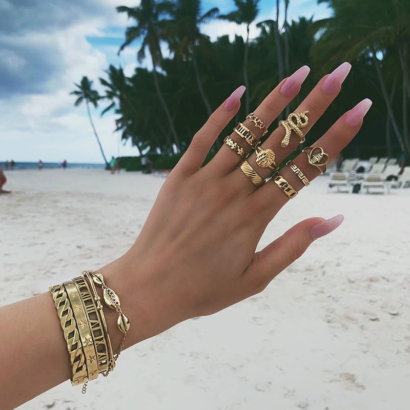 Lovely Trendy 9-piece Gold Metal Ring