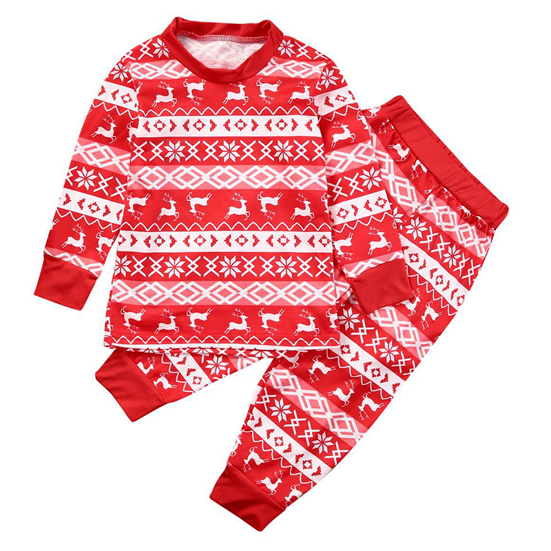 Lovely Family Printed Red Kids Two-piece Pants Set