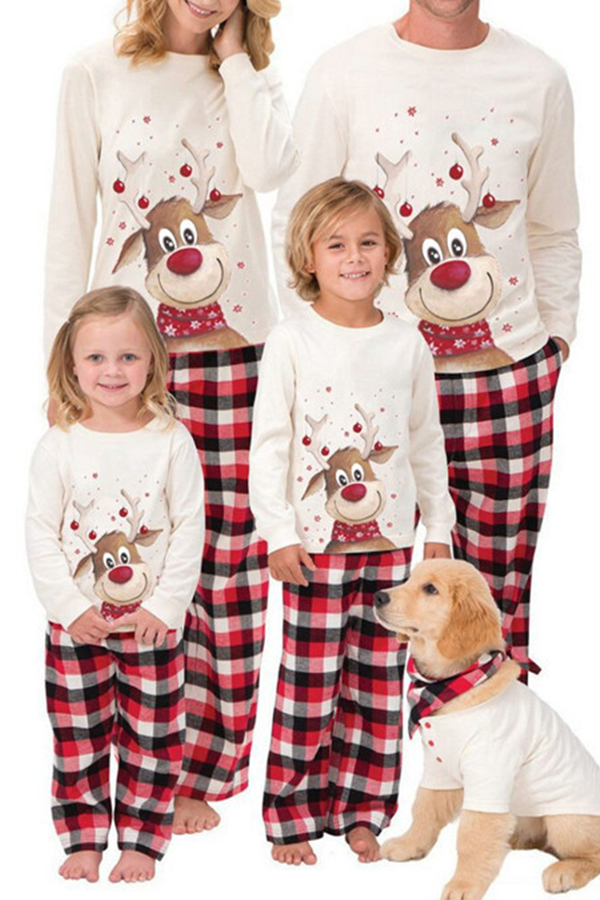Lovely Family Christmas Deer Printed Creamy White Girls Two-piece Pants Set